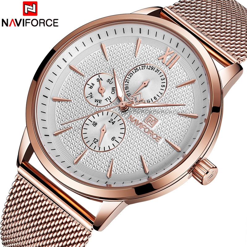 New NAVIFORCE Men Watch Top Brand Luxury Men's Rose Gold Quartz Wrist Watches Male 24 Hour Luminous Date Clock Relogio Masculino drawstring spliced camo jogger pants