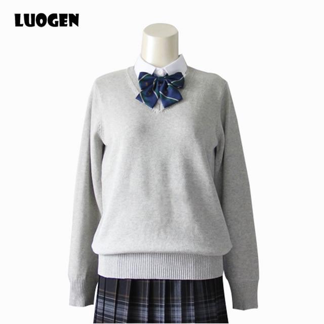 Japanese school style JK sweater uniforms men and women students knitting V- neck sets of long-sleeved cotton sweater uniforms ba1e7b510
