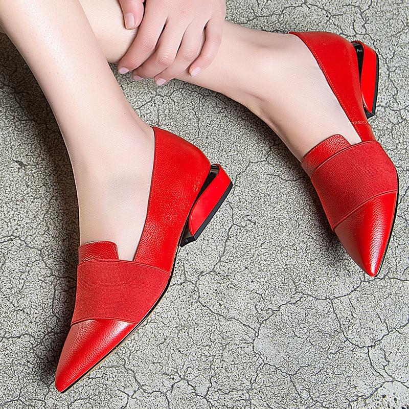 Ol Pompes En Formelle Fashion Beige Printemps Véritable Cuir Street Glissement Vache Pointu Chaussures High rouge L'europe Carré noir Talon Dames Bureau Bout Femmes Sur qTwSTZz