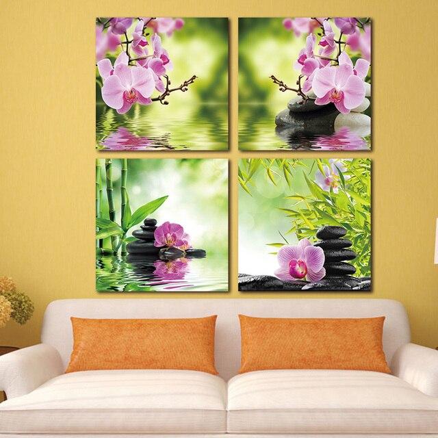 Banmu бабочка цветок орхидеи Zen Камни стены Книги по искусству бамбука картина печати на холсте современного Книги по искусству Стены Модульная картина без Рамки