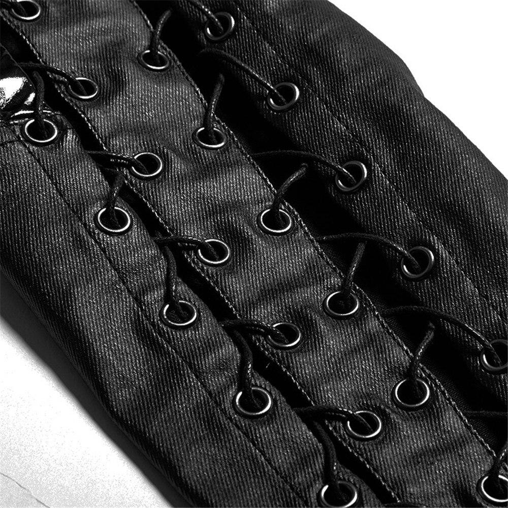 Стимпанк готический ПУ кожа выдалбливают вертикальные полосы леггинсы для женщин панк черный сексуальный низкая талия женские обтягивающ... - 6
