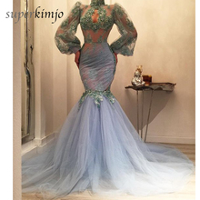 Prom Dresses Light Blue High Neck Lace Appliques Mermaid Puffy Tulle Beaded Evening Dresses Gowns Arabic 2017 glitz emerald green girls pageant dresses halter high neck tulle beaded crystals kids birthday prom gowns