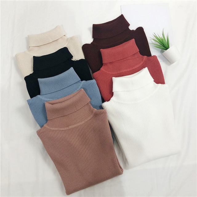 AOTEMAN Casual Autumn Winter Turtleneck Sweater Women Sweet Solid Knitted Sweaters Fashion Slim Korean Pullover Sweater Harajuku