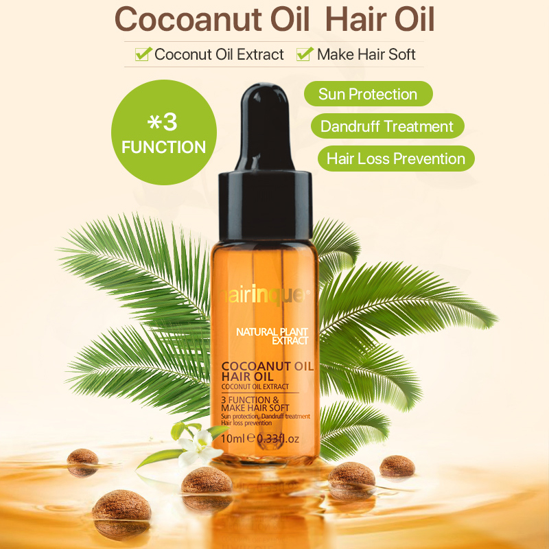 Hairinque 10ml Natural Coconut Oil Cold Pressed Virgin Coconut extract make hair soft restore damaged hair best hair oil 3.28