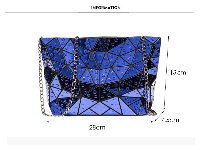 Ladies Geometric Holographic Crossbody Bag Water Drop Accent - womens-bags, google-feed-new