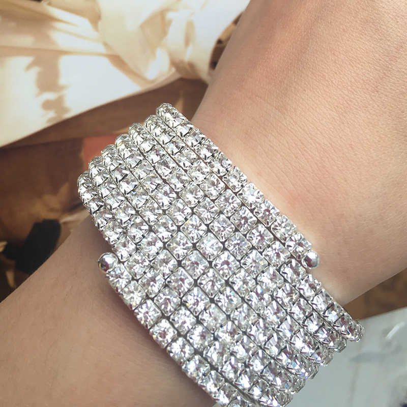 2019 Silver Bracelets Bling Silver Alloy Clear Crystal Bracelets 3/5/7 Row Elastic Wide Bracelets Jewelry Best Gift for Women