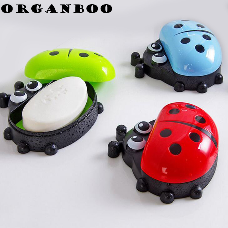 Organboo 1pc Cartoon Ladybug Soap Box Bathroom Bathroom Drain Water Soap Holder Plastic Cover Bathroom Accessories