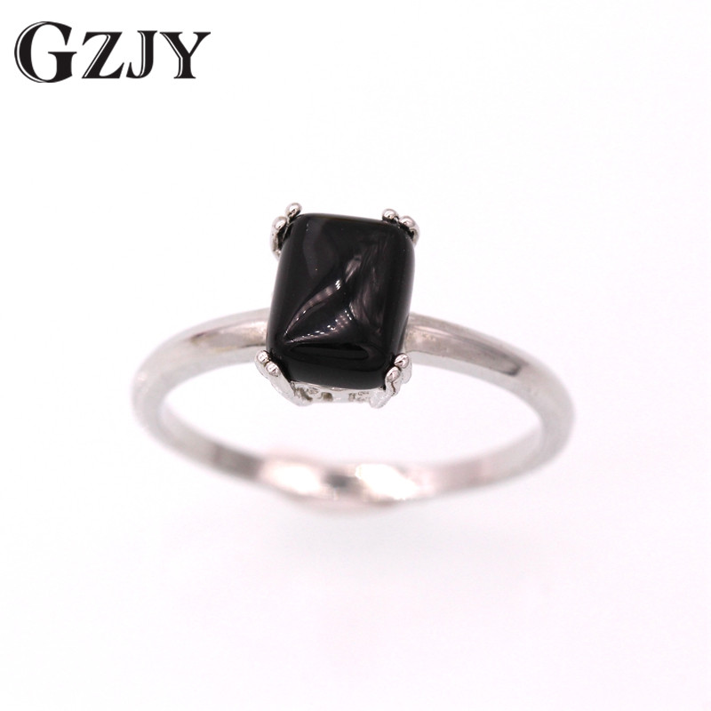 GZJY Beautiful Cute Simple Square Green Red Black Stone Jewelry