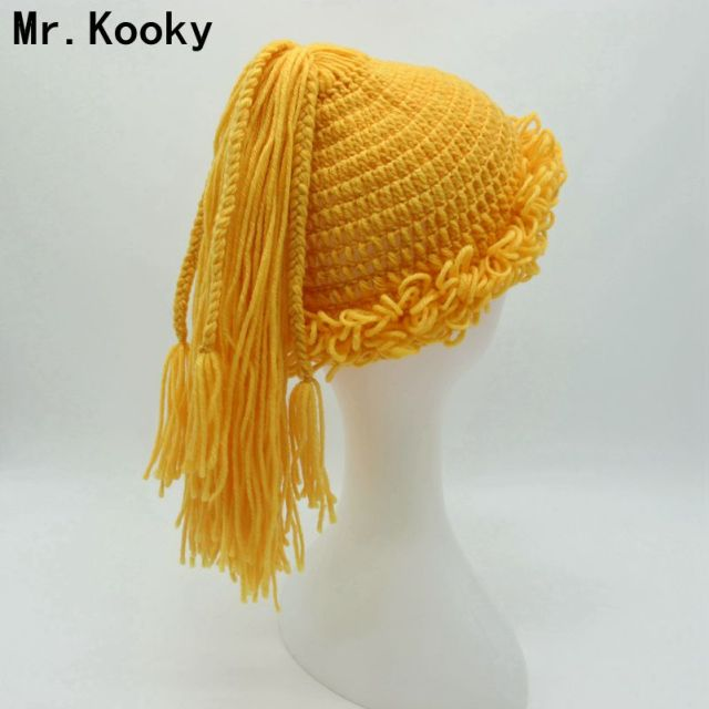 a9ff357ee3c Mr.Kooky Autumn Winter Cute Women Girls Wig Beanies Baby Kids Creative  Handmade Knitted Hats Balaclava New Year Unique Gifts
