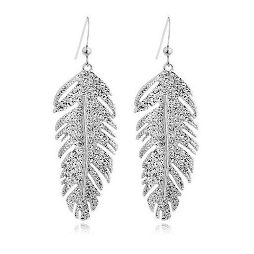 Fashion Wedding Bridal Jewelry Sets Rhinestone Crystal Jewelry Set Feather Earrings Pendant Set Vintage Party Accessories