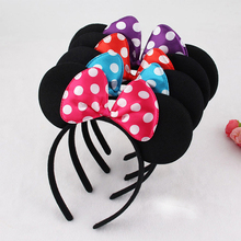 10pcs/lot Minnie Mouse Headband Hair Bands For Girls Women Plastic Bezel With Cute Big Bows 2019 Fashion Accessories