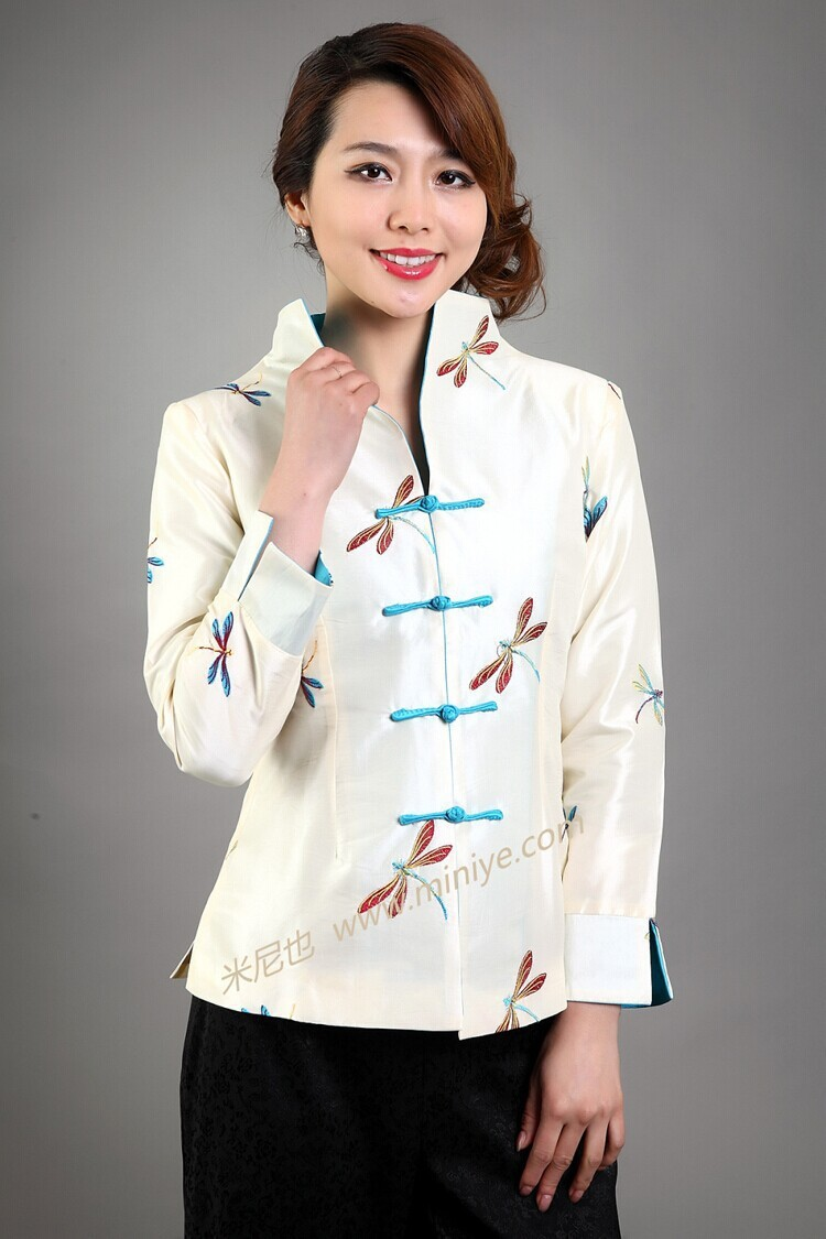 Hot Sale Beige Vintage Chinese Women's Silk Satin Jacket Coat chaqueta abrigo Long Sleeves Flower Size S M L XL XXL XXXL