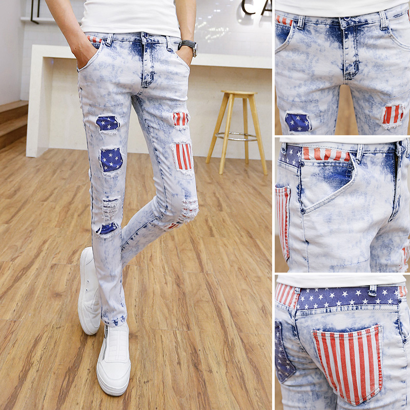 ФОТО 2016 men's fashion style hole tight jeans/Male joker high-grade garment thin leg pants/Men slim fit pencil pants, thin leg pants