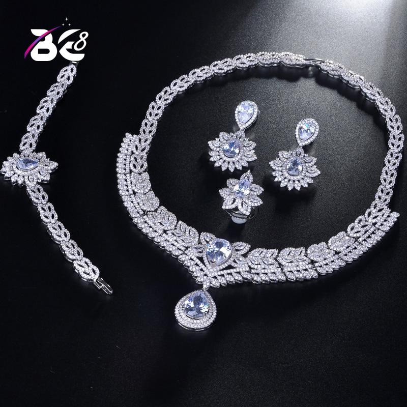 Be 8 2018 nouvelle haute couture Dubai ensemble de Bijoux couleur blanche nigérian mariage perles africaines ensembles de Bijoux Parure Bijoux Femme S197