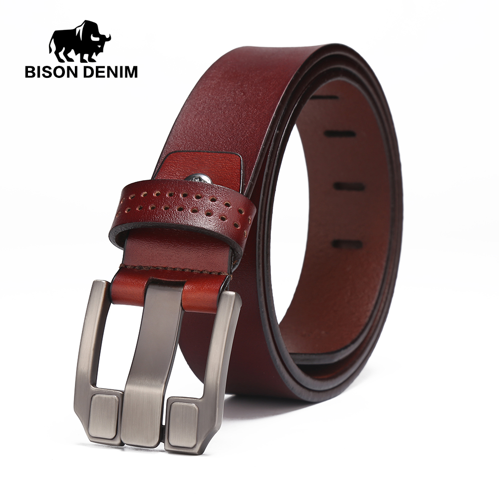 BISON DENIM Brand Men Belts High Quality 100% Genuine Leather Belts Men Cowboy Cowhide Waistband Christmas Gift For Men W71018