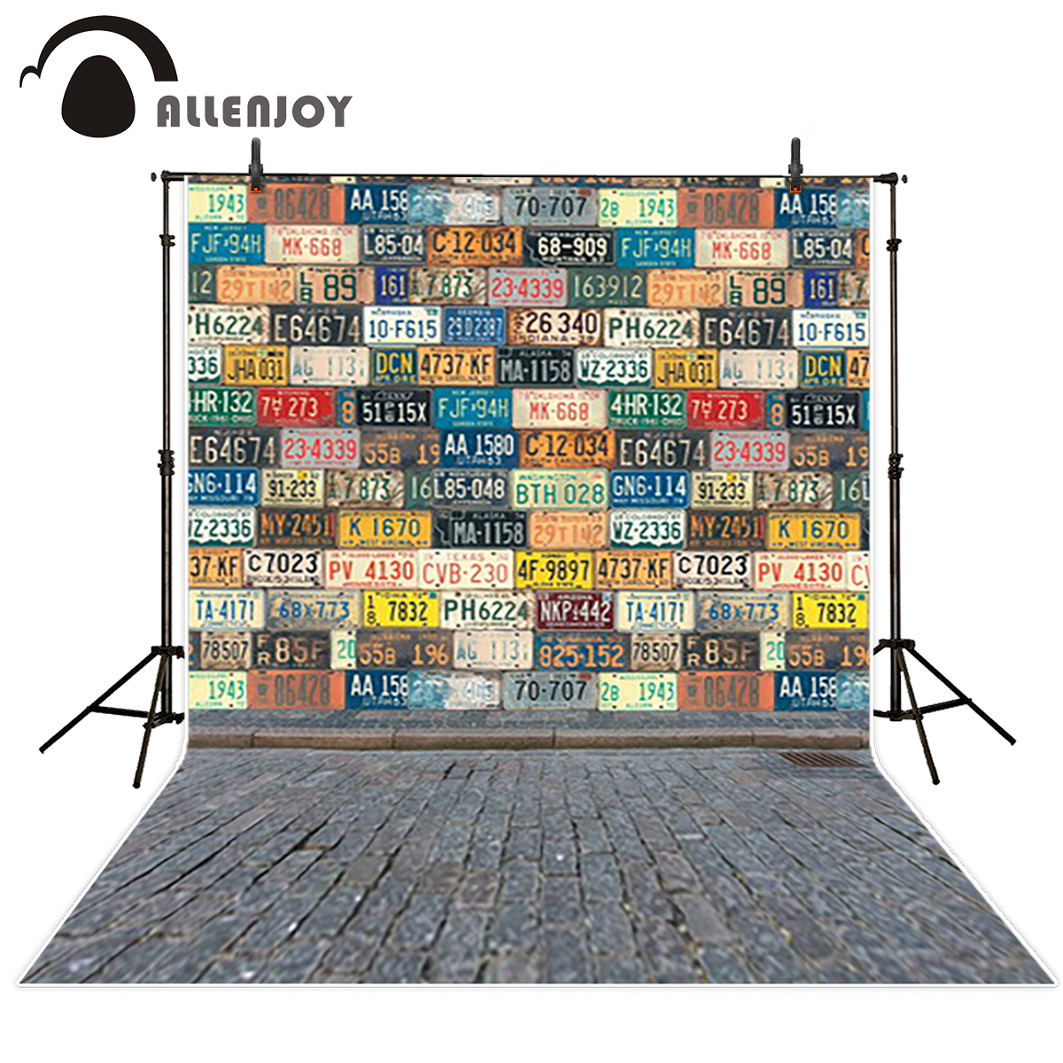 Allenjoy photography backdrops License plates brick floor graffiti cool fond backgrounds for kids backgrounds for photo studio 200cm 150cm backgrounds brick floor booth walls photography backdrops photo lk 1581