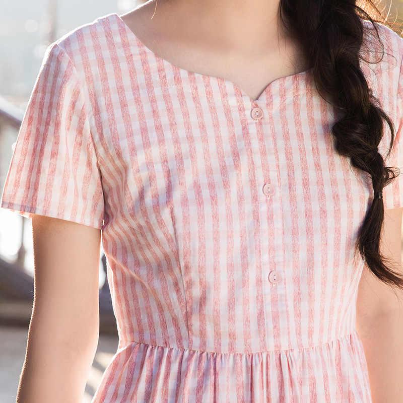 INMAN/2018 новое летнее платье с короткими рукавами и пуговицами спереди на талии.