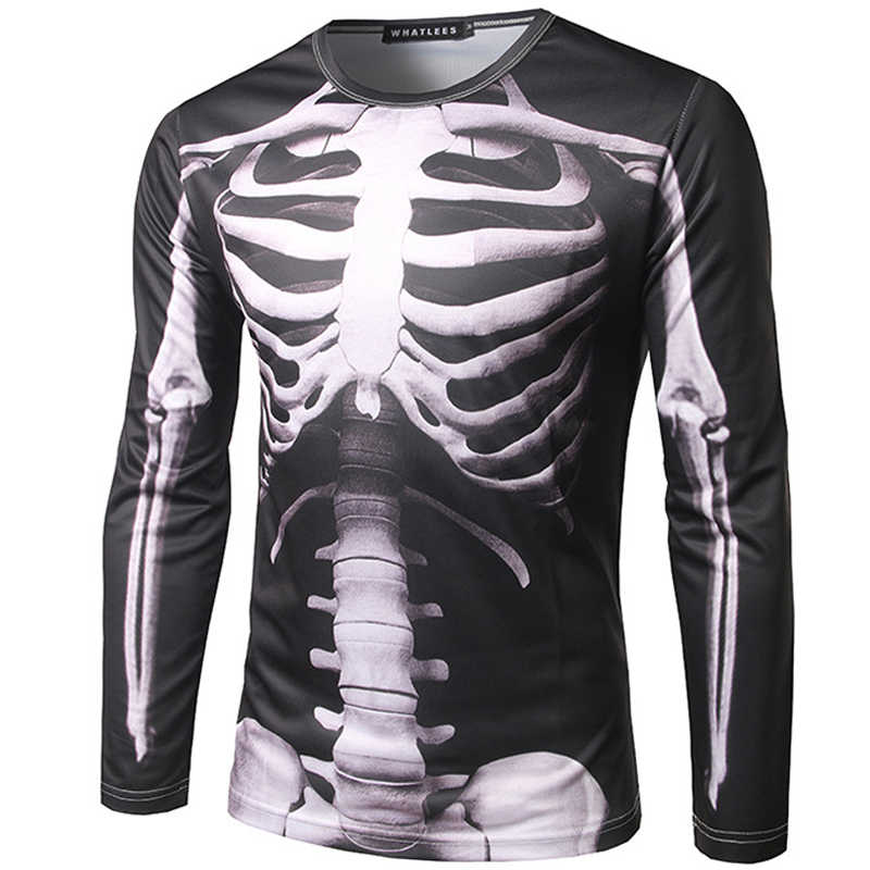 Cool Skeleton 3D Printed Mens T-shirt 2019 Brand New Long Sleeve Tee Shirt Homme Fashion Harajuku Slim Fit Camiseta 3D Top Tees