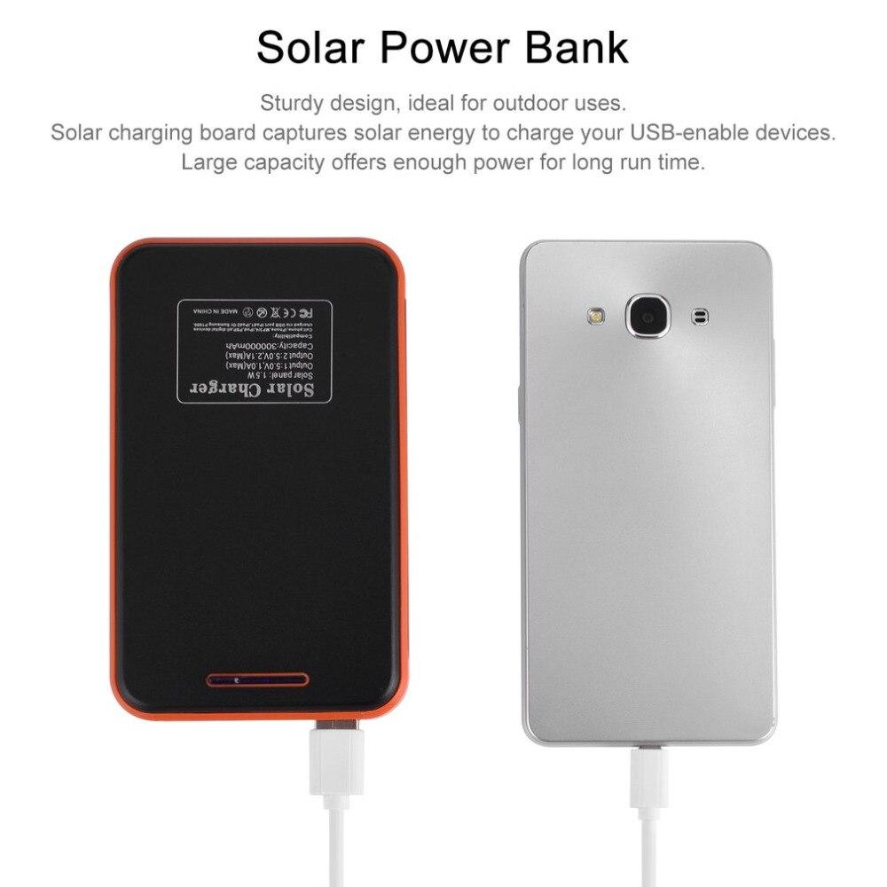 Solar Power Bank 30000mah Mini Ups Waterproof Solar Charger Powerbank 30000 mah Dual USB External Battery Power Bank box case solar powered 2600mah external li polymer battery charger power source bank black