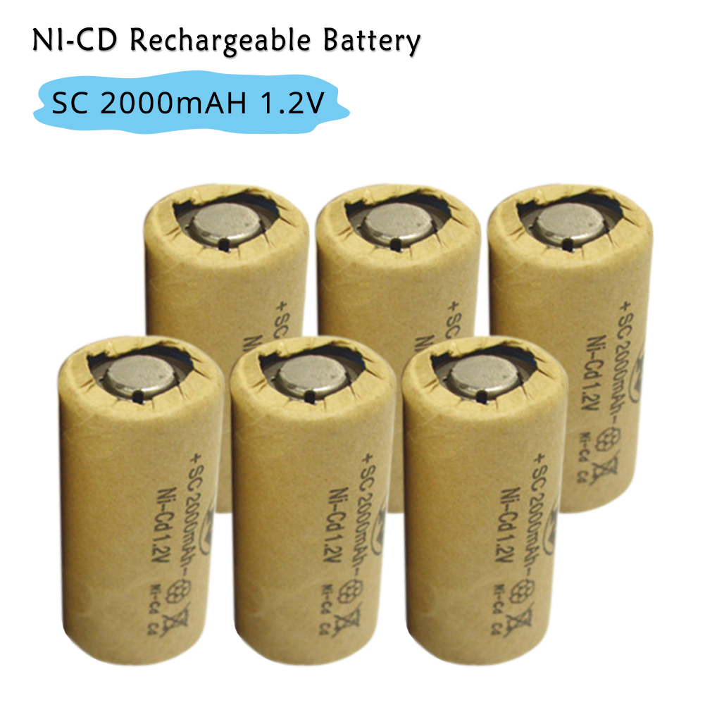 SC Sub C 2000mAh Ni CD 1.2V Rechargeable NI-CD Battery High Discharge Rate 10C for Flash ...