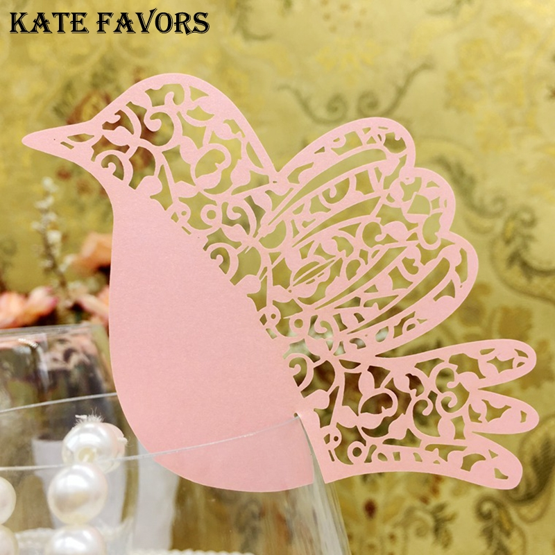 50pcs Laser-Cut Lovely Bird Wedding Party Table Place Card Name Cards Favor Decor New