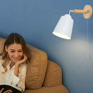 Image 1 - עץ קיר אורות קיר ליד מיטת מנורה עם מתג פמוט קיר מודרני קיר אור עבור שינה נורדי macaron היגוי ראש