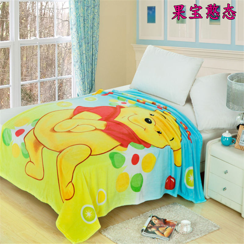 winnie the pooh blanket flannel fabric children girl boy home decor soft bed cover size of 150*200cm bedspreads single beddings