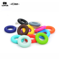 50pcs Lot Cute Donut Loose Silicone Beads For Silicone Necklace Teething Toys For Toddlers Organic Silicon