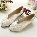 LIN REI Mulheres Flats Sapatos Feitos À Mão Da Dama de honra Da Noiva Se Casou Com Sapatos Único Rendas Sapatos de Casamento Flor De Strass Sapatos Para Mulheres