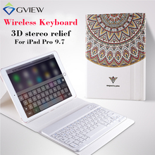 Para ipad pro 9.7 tablet case con teclado bluetooth 3d alivio pintura de cuero case coverfor ipad pro 9.7 soporte protector casos