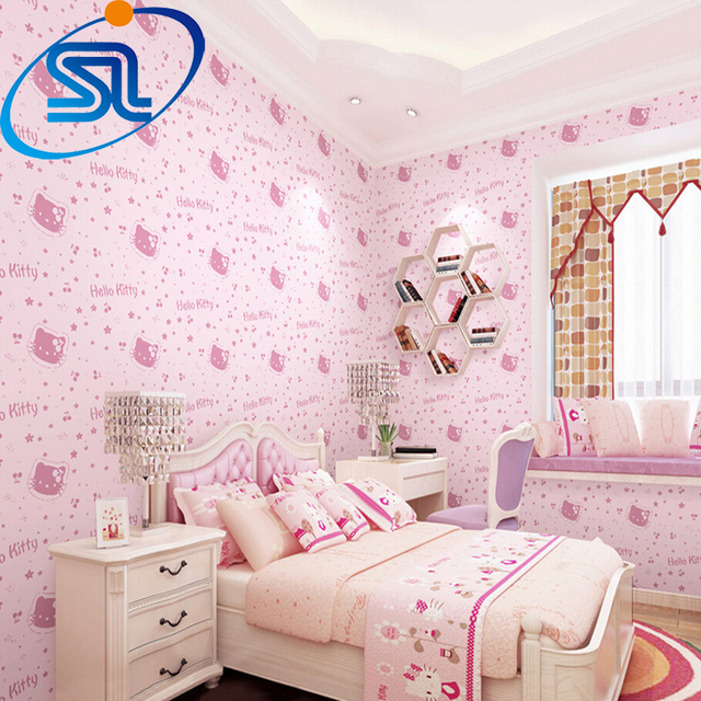 Free Shipping Romantic Lovely Hello Kitty 3d Wallpaper For Baby Kids
