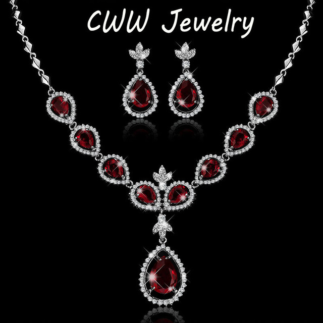 Finely Processed ! Elegant Shaped Big Drop White and Ruby Red CZ Diamond Crystal Bridal Wedding Jewelry Sets For Brides(T073)