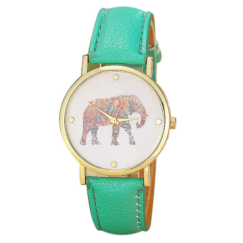 Relogio Feminino Gift New Women Elephant Printing Pattern Weaved Leather Quartz Dial Watch 2016 New Fashion Pink Green Color