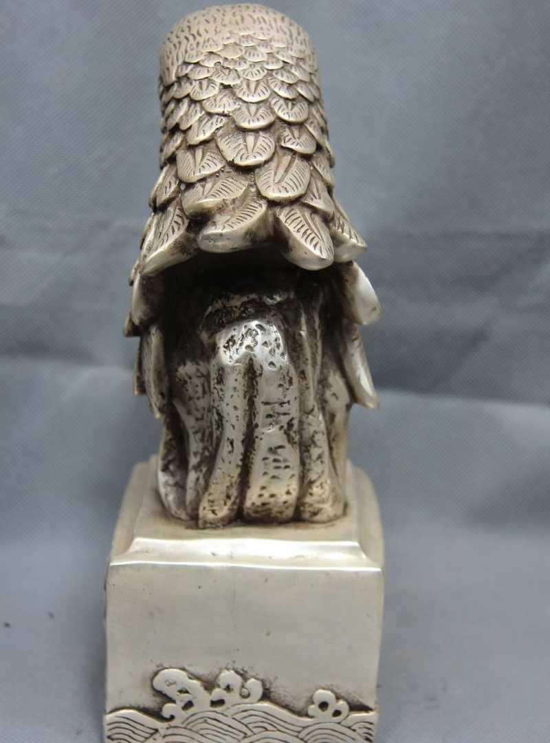 9.5 Chinois Blanc Cuivre Argent Victoire Chanceuse Faucon faucon Aigle Oiseau Tête Art Statue