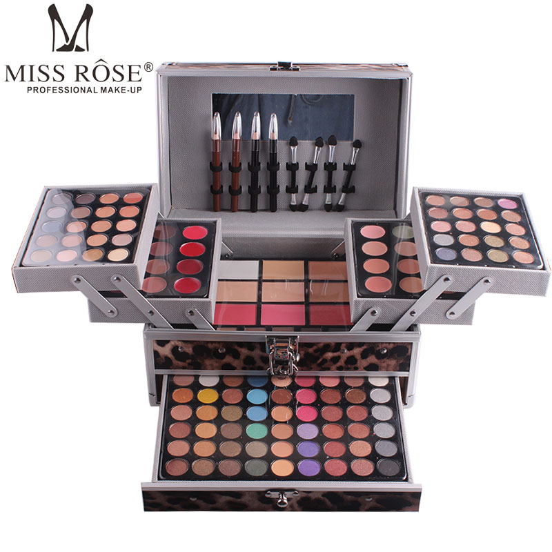 MISS ROSE Professional makeup set of Aluminum box with eyeshadow blush contour powder palette for makeup artist gift kitMISS ROSE Professional makeup set of Aluminum box with eyeshadow blush contour powder palette for makeup artist gift kit
