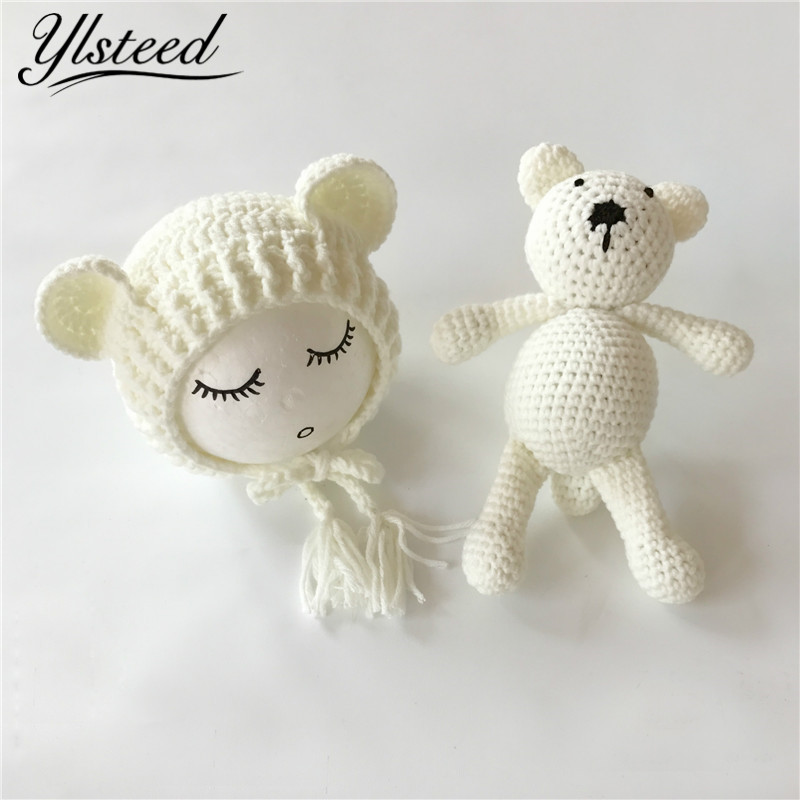Newborn Photography Crochet Bear Ears Hats for Baby Photo Shoot Knitted Toy Bear Baby Cap Newborn Fotografia Chapeau Enfant Ete