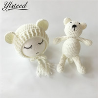 Newborn Photography Crochet Bear Ears Hats For Baby Photo Shoot Knitted Toy Bear Baby Cap Newborn