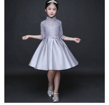 Baby Girl Kid Evening Party Dresses For Girl Wedding Princess Clothing 2017 New Solid Color Bow Moderator Dress Children Clothes