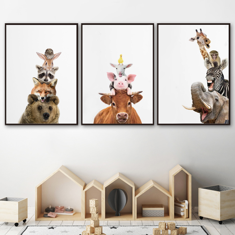 Cute Bear Fox Raccoon Zebra Giraffe Nordic Posters And Prints Wall Art Canvas Painting Animal Wall Pictures Baby Kids Room Decor