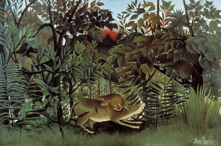 Kinderkamer Jungle Behang : Rousseau jungle schilderen behang custom 3d muurschilderingen