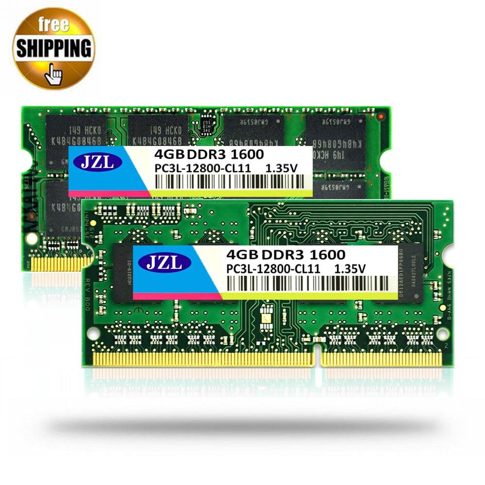 JZL 1.35V Voltage DDR3L 1600Mhz PC3 12800S 4GB / DDR3 PC3 12800 1600 1333 1066 Mhz For Laptop Notebook SODIMM Ram Memory SDRAM