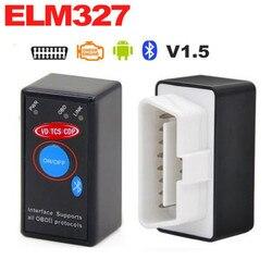 Wysokiej jakości ELM327 Mini ELM327 V1.5 Bluetooth OBD2 czarny ELM 327 wyłącznik zasilania OBD2 skaner diagnostyczny do Android moment obrotowy/szt
