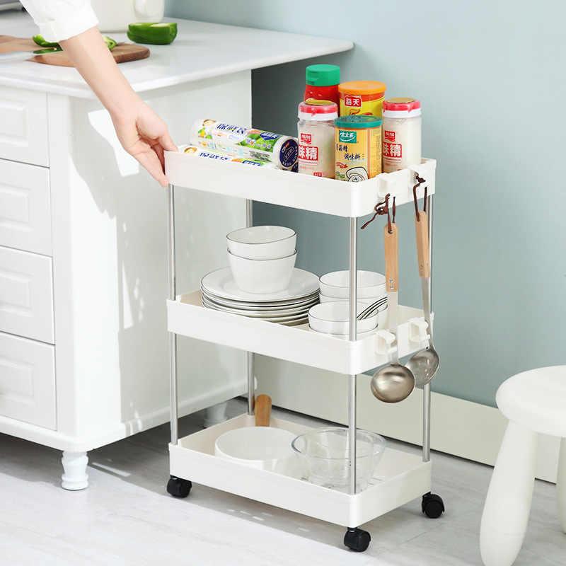 Slide Out Slim Trolley Rack 4 Tier Narrow Space Shelving Rolling Pantry  Shelves Holder Storage Organizer Shelf on Wheels Kitchen