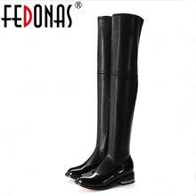 Fedonas 2020 Thương Hiệu Thời Trang Co Giãn Chính Hãng Giày Da Phụ Nữ Trên Đầu Gối Giày Gợi Cảm Dây Kéo Nữ Thu Đông Giày Boots