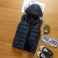 Men Jacket Vest With Cap Famous Brand Male Clothing New Arrival High Quality Solid Color Man