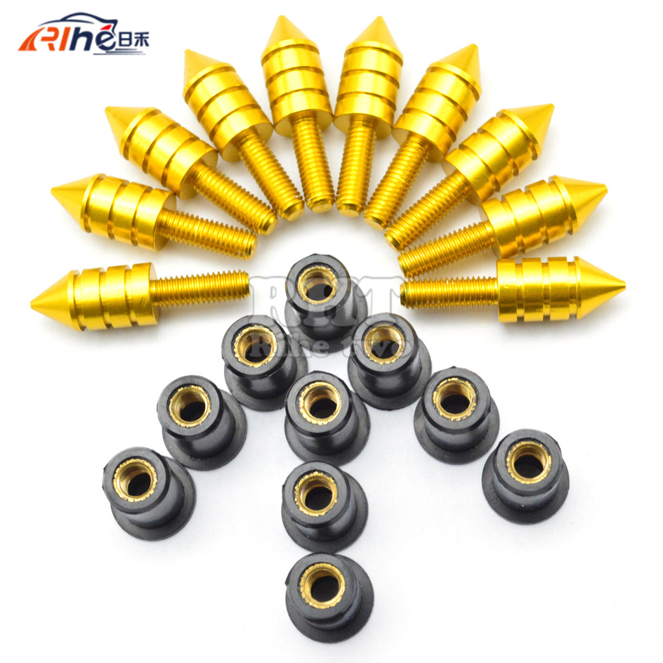 Universal 10pcs Motorcycle Swingarm Spools Slider Windshield Spike Nuts Bolts Screws For YAMAHA YFM90R YFM 90R TZR50 TZR 50