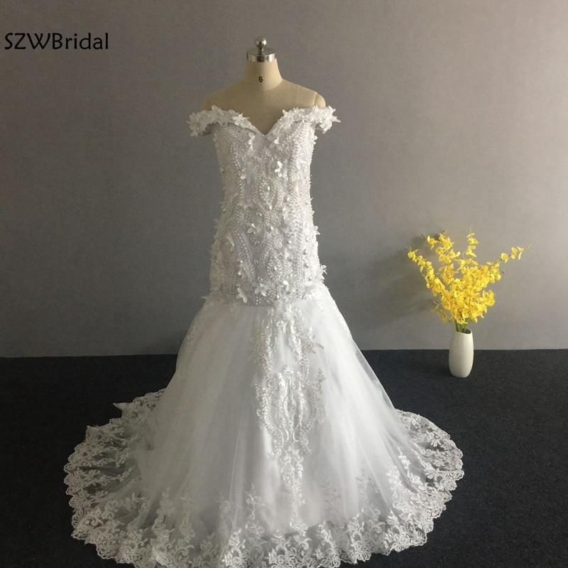 New Arrival Off the shoulder Mermaid wedding dresses 2019 wedding gown Pearls beaded Luxury wedding dress Vestido de noiva