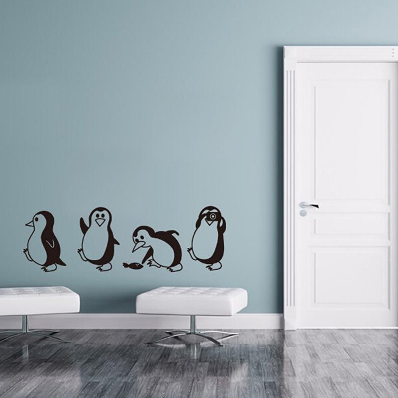 DIY Home Decor Creative Penguin Wall Sticker Cute Little