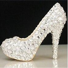 Crystal wedding shoes high heel bride rhinestone pearl wedding white crystal princess plus size single shoes