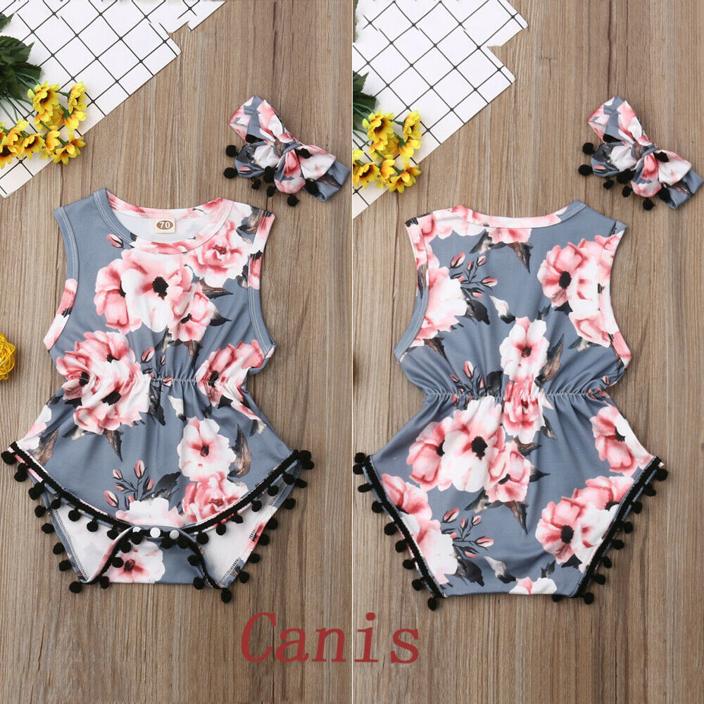 Pudcoco Newest Fashion Newborn Baby Girl Clothes Sleeveless Flower Print Tassels Bodysuit Headband 2Pcs Outfits Summer Clothes